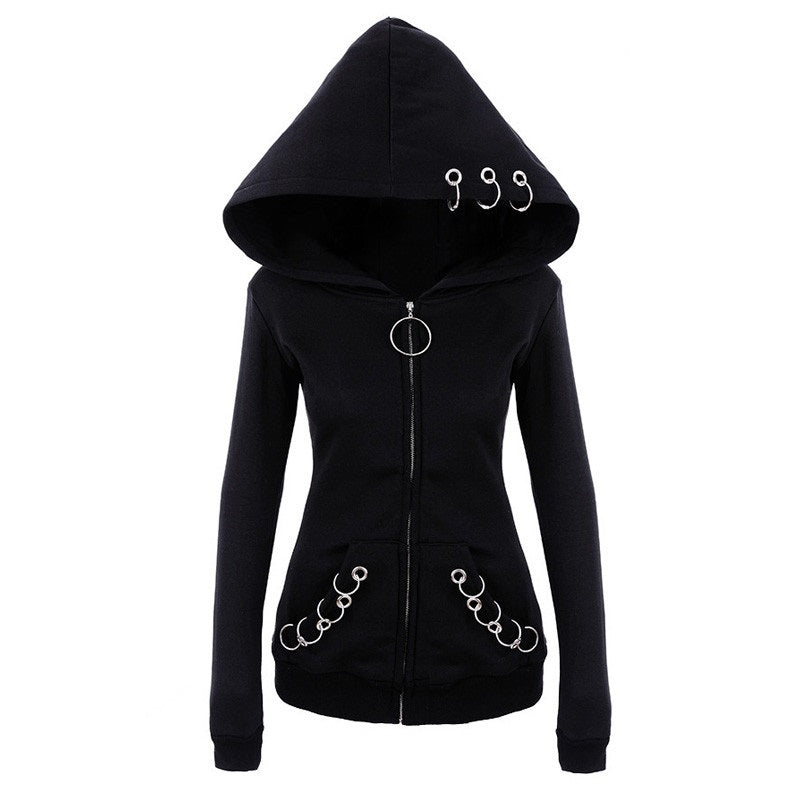 Long Sleeve Zipper Rings Gothic Hooded Sweatshirt