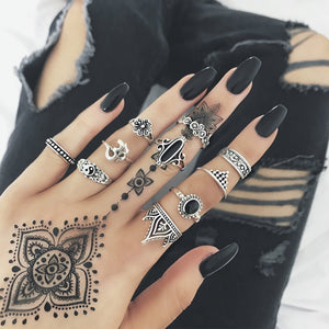 10pcs/Set Bohemia Silver & Black Rings