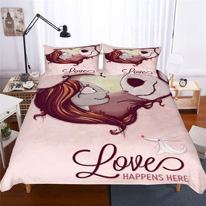2-3pcs 3D Nightmare Before Christmas Jack & Sally Love Bedding