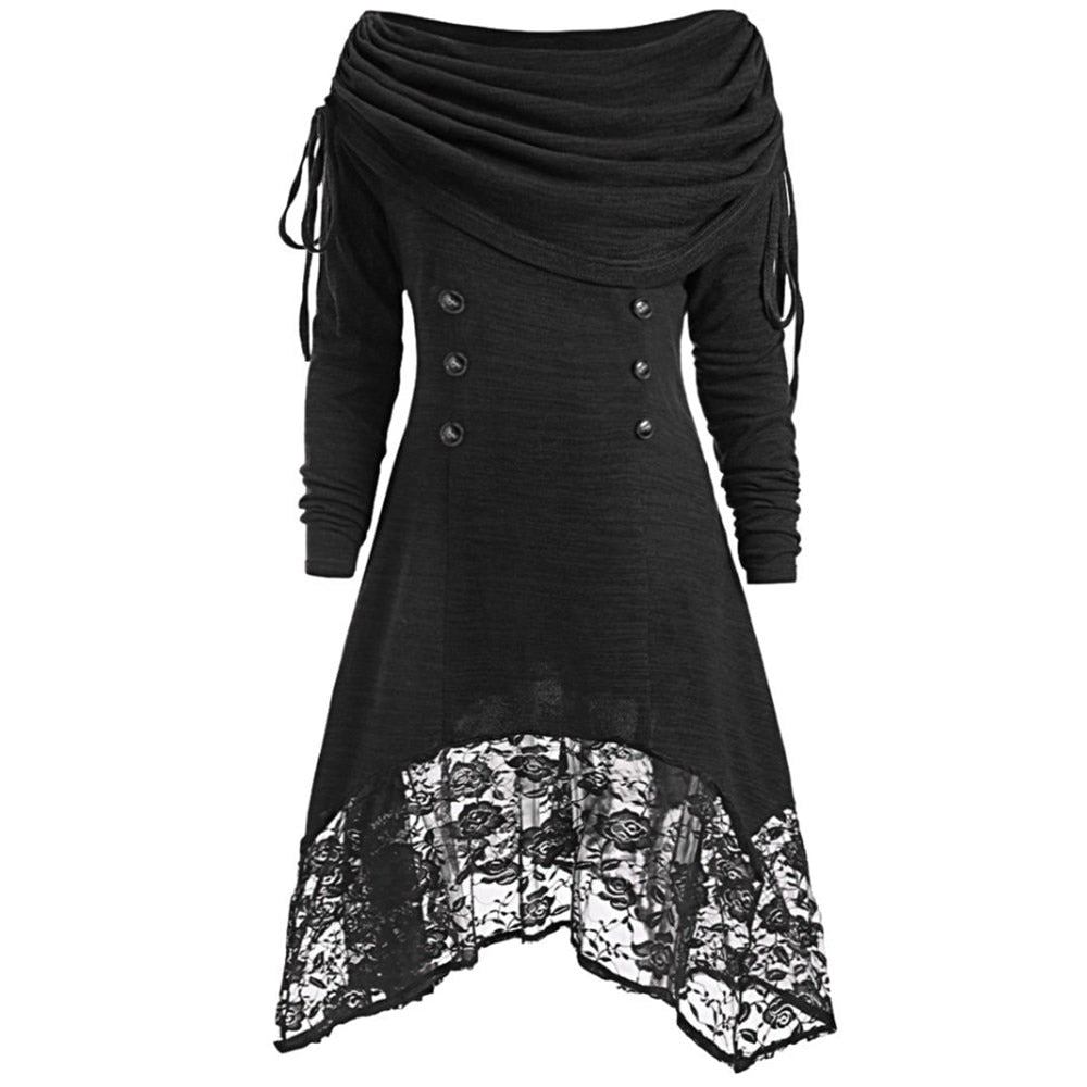 Plus Size Long Sleeve Gothic Lace Pullover Shirt