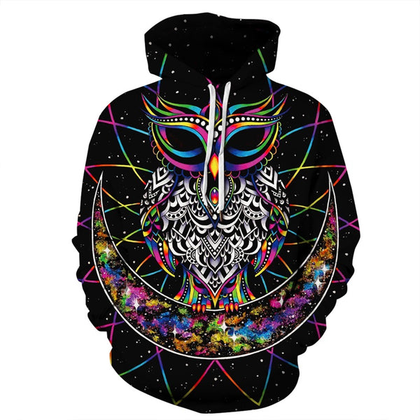 Moon Owl 3D Print Hooded Sweatshirt