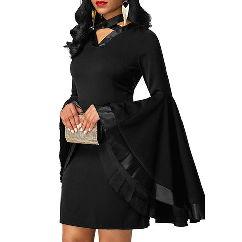 Gothic Flare Long Sleeve Dress