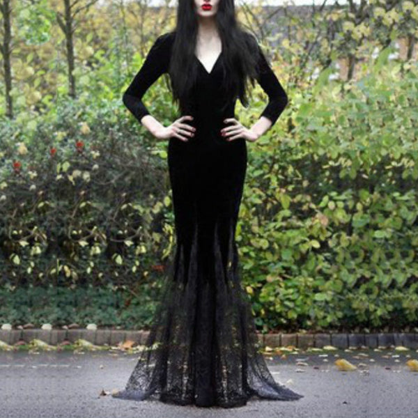 Long Lace Mermaid Halloween Slim Gothic Black Dress Costume