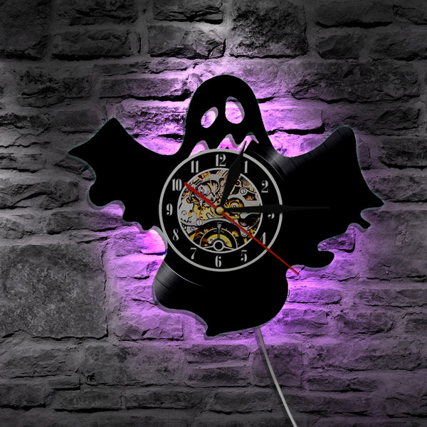 7 Color 3D LED Ghost Vinyl Wall Clock