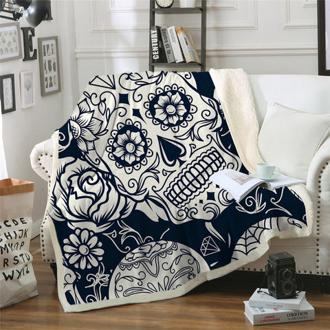 Sugar Skull Floral Gothic Throw Blanket