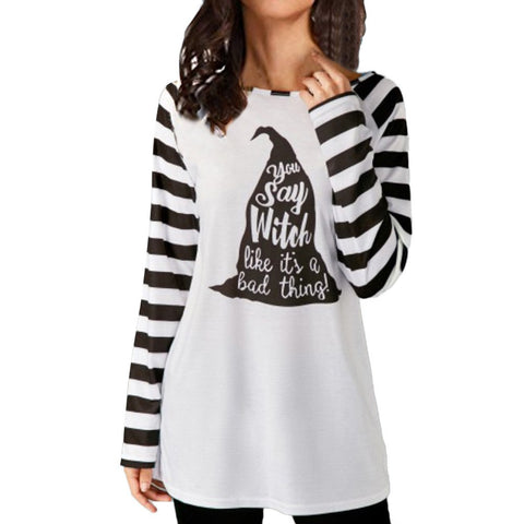 Womens Long Sleeve Striped Halloween Blouse