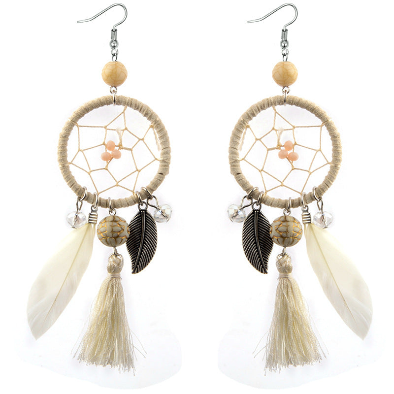 Bohemia Leaf Feather Dreamcatcher Earrings