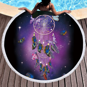 Dream Butterfly Dreamcatcher Round Beach Towel