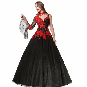 Black and Red Gothic Lace Wedding Dress