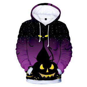 Creepy Cat And Pumpkin 3D Hooded Sweatshirt