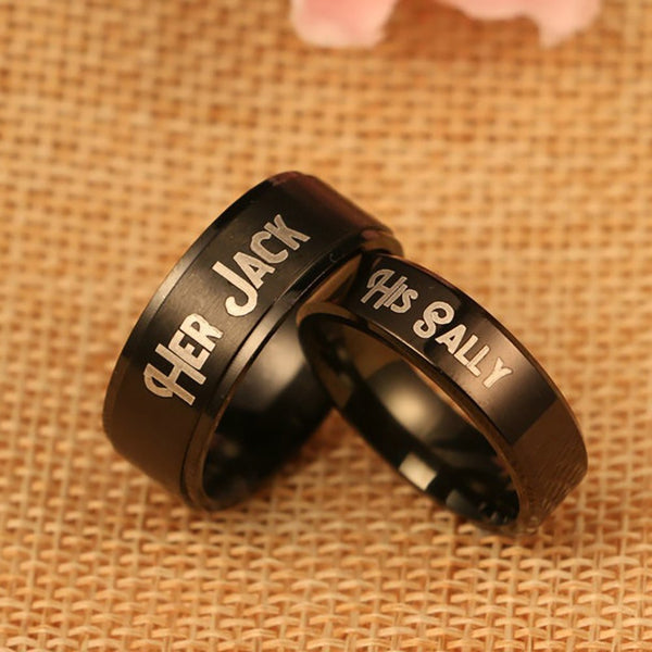 Her Jack & His Sally Nightmare Before Christmas Rings