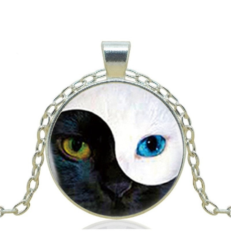 Ying Yang Cat Pendant Necklace