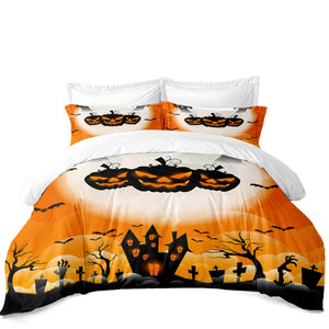 The Creepy Pumpkin 3PC Duvet Bedding Set