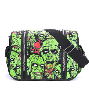 Zombie Attack Green Monster Gothic Waterproof Shoulder Cross Messenger Bag