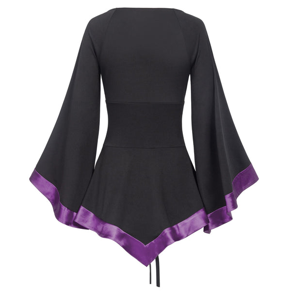 Flared Sleeves Loose Lace Up Gothic Top