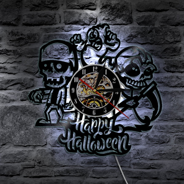 7 Color 3D LED Halloween Zombie Wall Clock