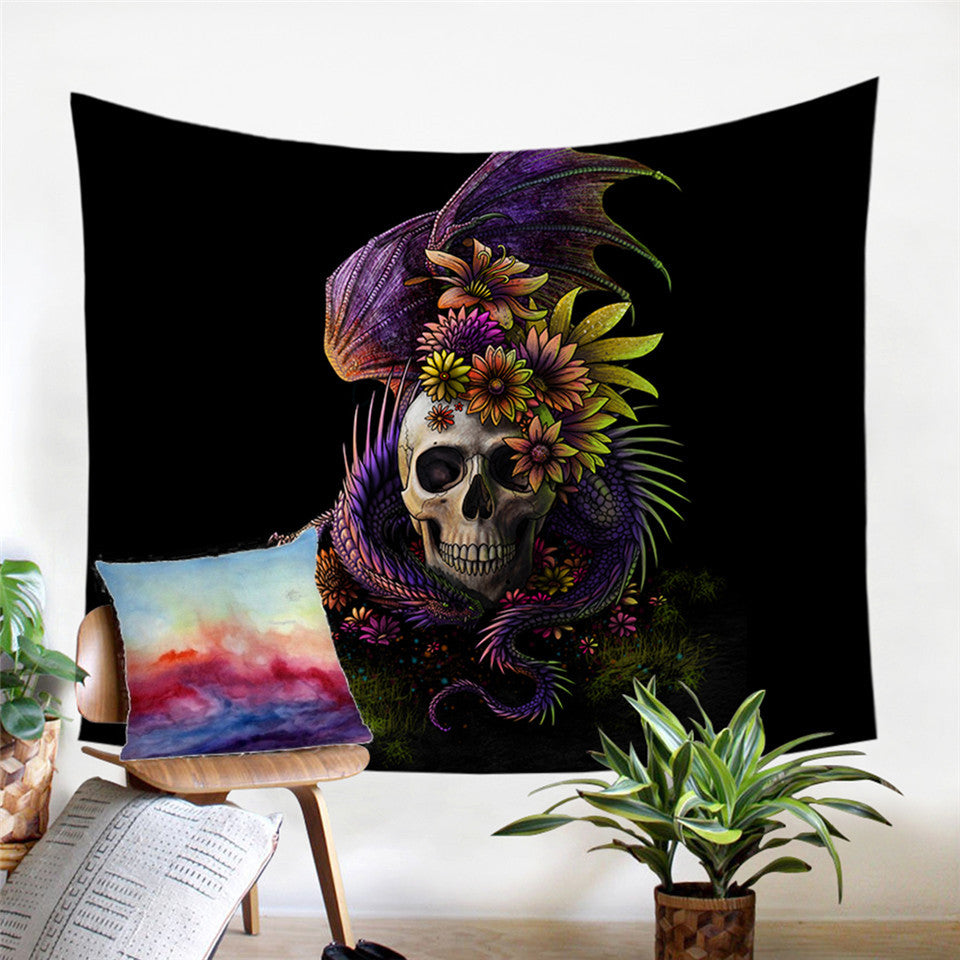 Flowery Skull by SunimaArt Microfiber Decorative Wall Tapestry