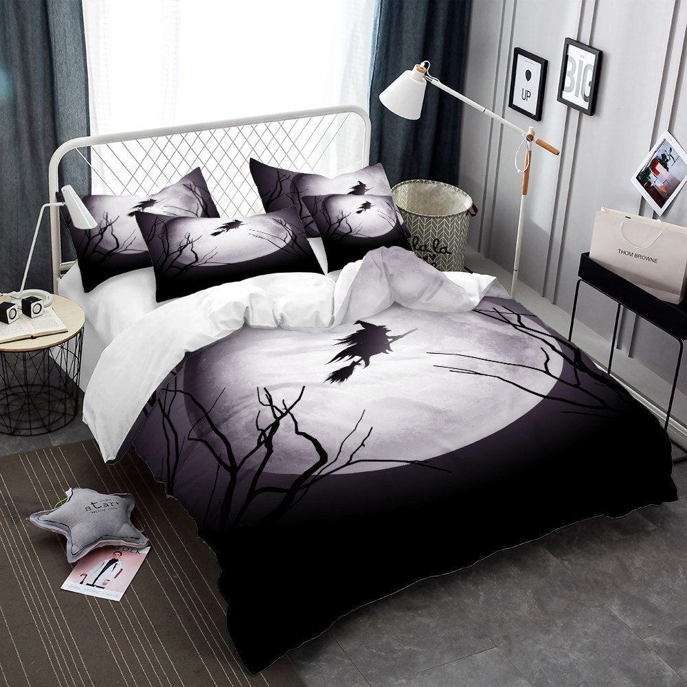 Witch Flying By Moon Bedding Set