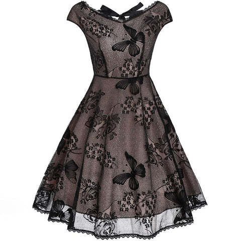 Black Butterfly Gothic Lace Dress