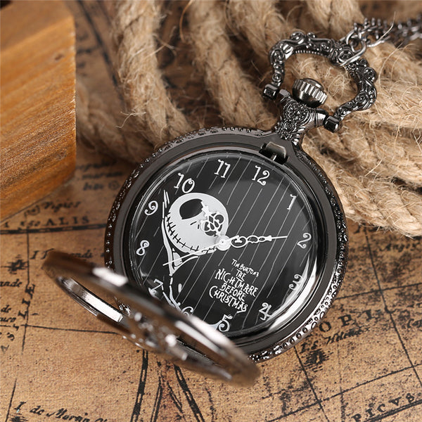 Jack And Sally Pocket Black Quartz Pocket Watch