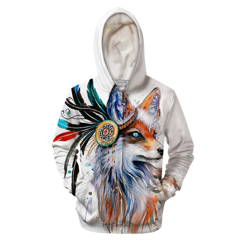 Fox by KhaliaArt Zipper 3D Sweatshirt