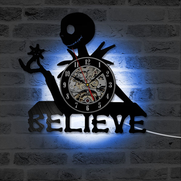 LED Believe Jack Skellington Vinyl Clock