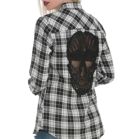 Skull Hollow Out Long Sleeve Blouse Top
