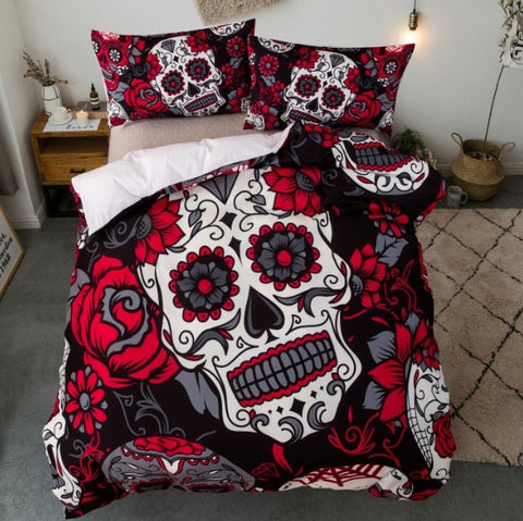 Skull Flower Bedding Set