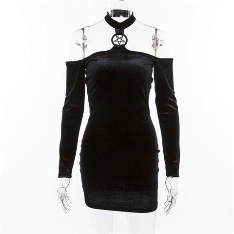 Gothic Long Sleeve Velvet Halter Black Dress