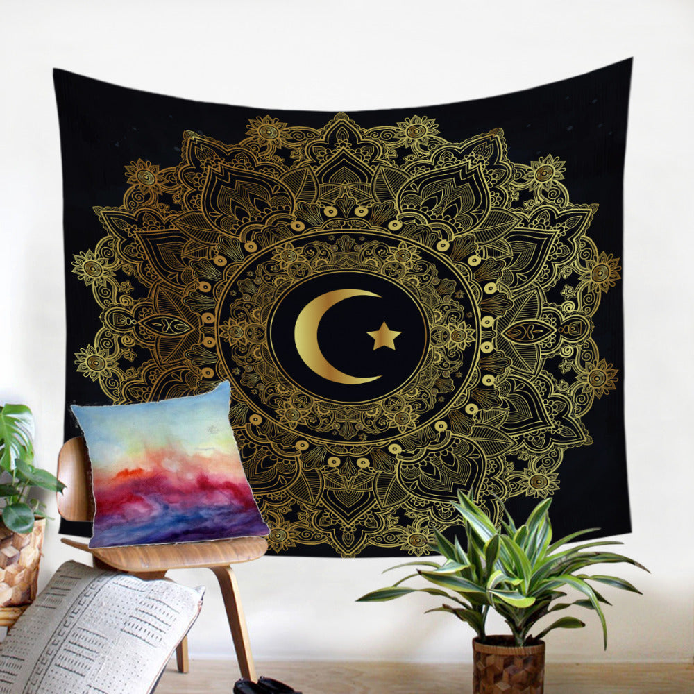 Star Moon Golden Mandala Microfiber Decorative Wall Hanging