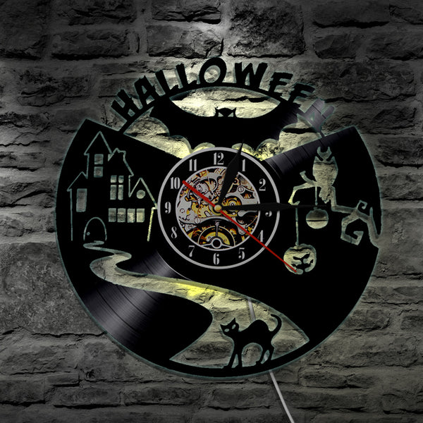 7 Color 3D LED Creepy Halloween Vinyl Wall Clock