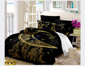 Golden Dark Moon Elephant Stars Dreamcatcher Bedding Sets