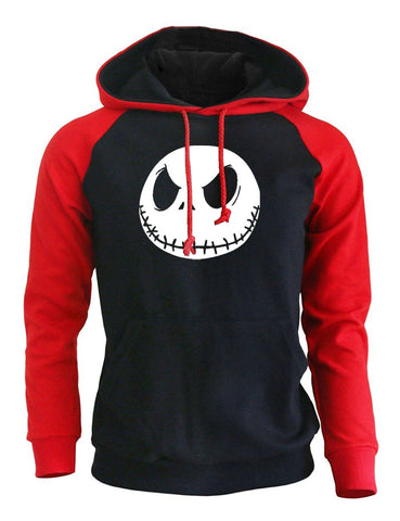 Jack Skellington Evil Face Print Punk Sweatshirt Fleece Raglan Hoodie