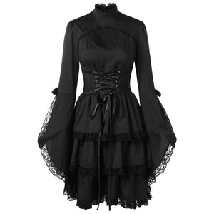 Black Lace Flare Sleeves Gothic Dress