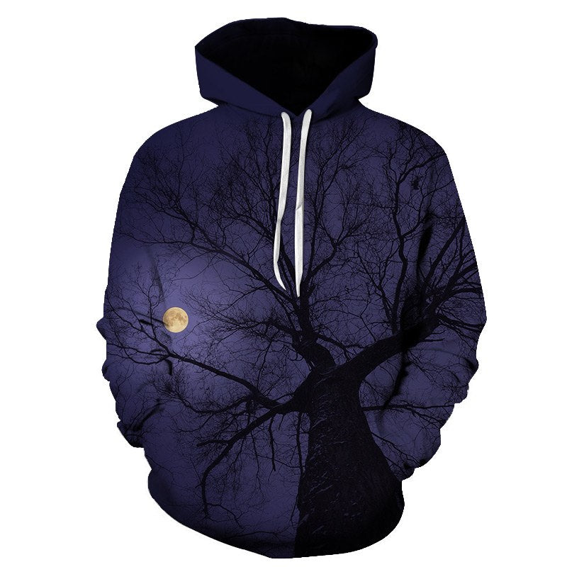 Night Moon 3D Print Hooded Sweatshirt