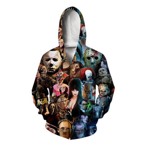 Horror Characters Zip Up Hooded Sweatshirt