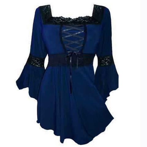 Plus Size Gothic Lace Up Bell Sleeve Shirt