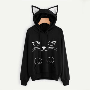 Dotfashion Cat Print Pull Over Hoodie