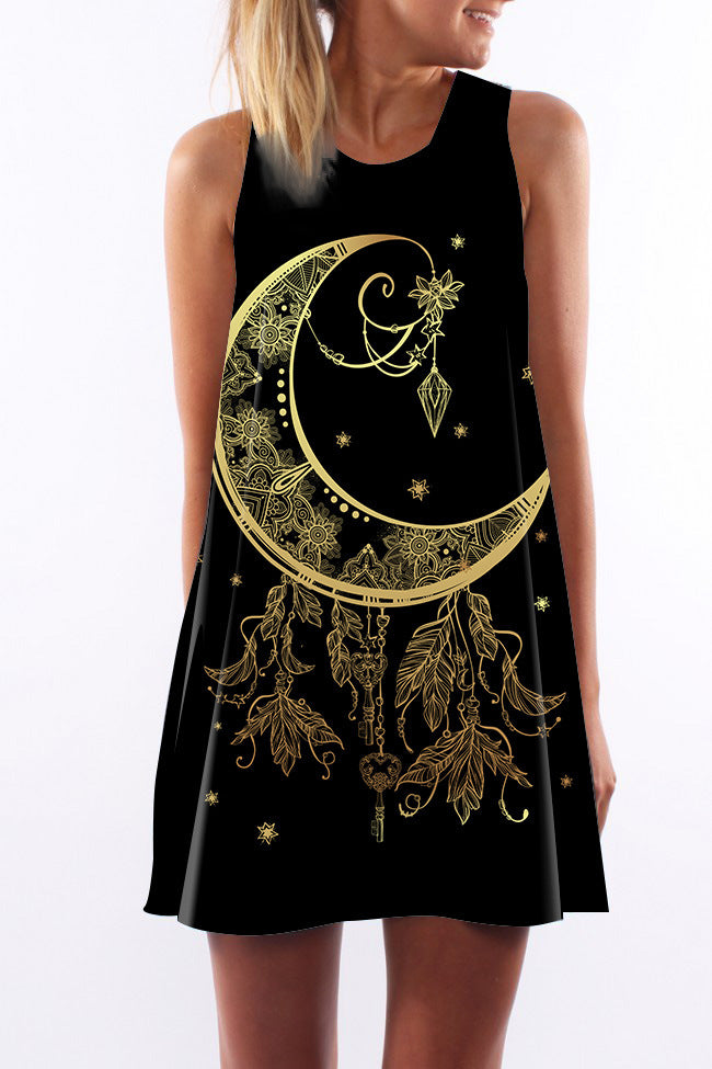 Gold Gothic Moon Print Sleeveless Tank Dress