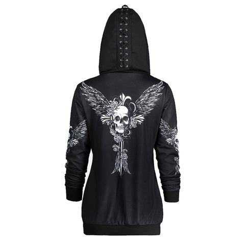 Skull Wings Zip Up Femme Style Hoodie