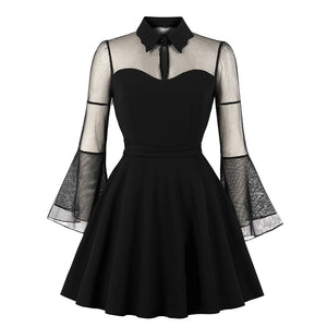 Gothic See Through Flare Sleeve Mini Dress