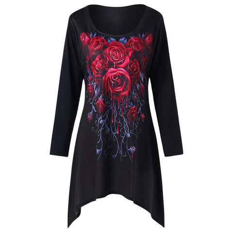 Plus Size Long Floral Design Tee/Dress