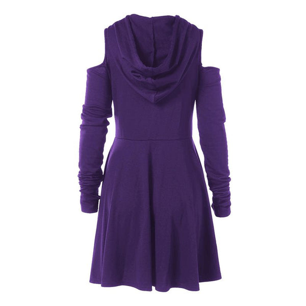 Off Shoulder Long Sleeve Hooded Gothic Dress