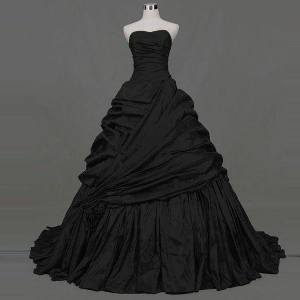 Gothic Black Ball Gown Sweetheart Dress