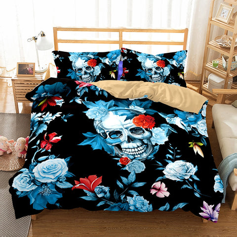 3D Skulls and Flowers 3pc Bedding Set