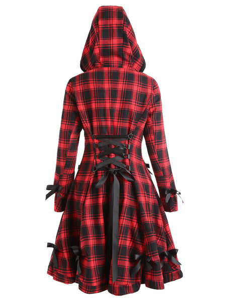 Gothic Style Plaid Red and Black Hooded Button Up Bowknot Coat