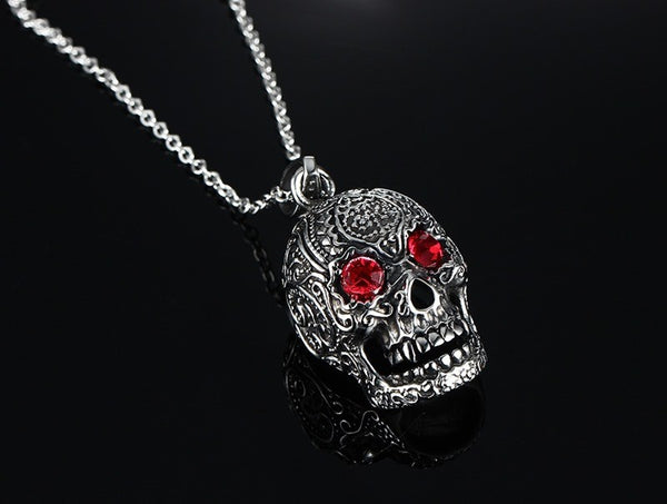 "Stainless Steel Gothic Skull Pendant Necklace for Man with Red Cubic Zirconia 24"" Chain"