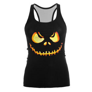 3D Printed Halloween Pumpkin Tank Top Shirt