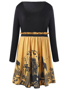 Halloween Flounced Spooky Scene Dress