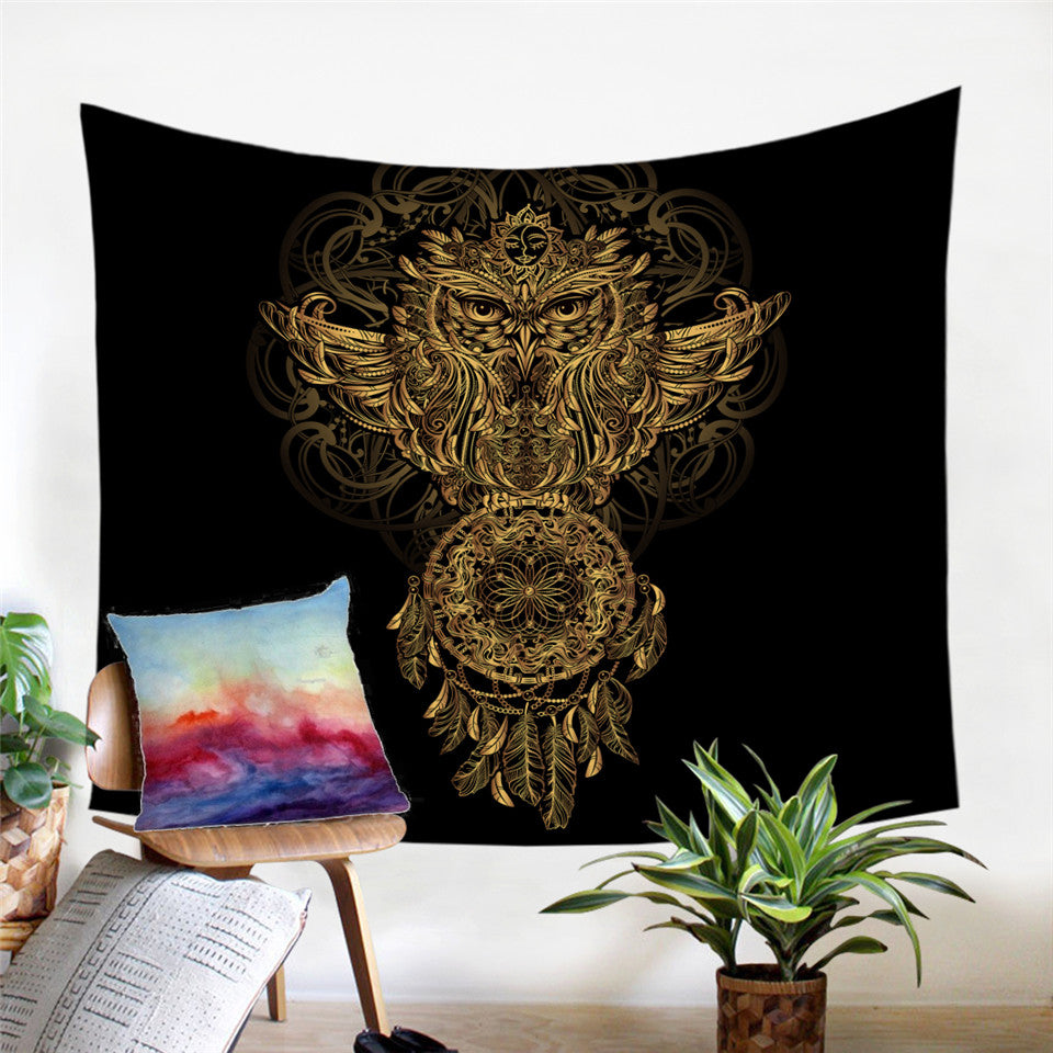 Golden Owl Dreamcatcher Microfiber Decorative Wall Tapestry